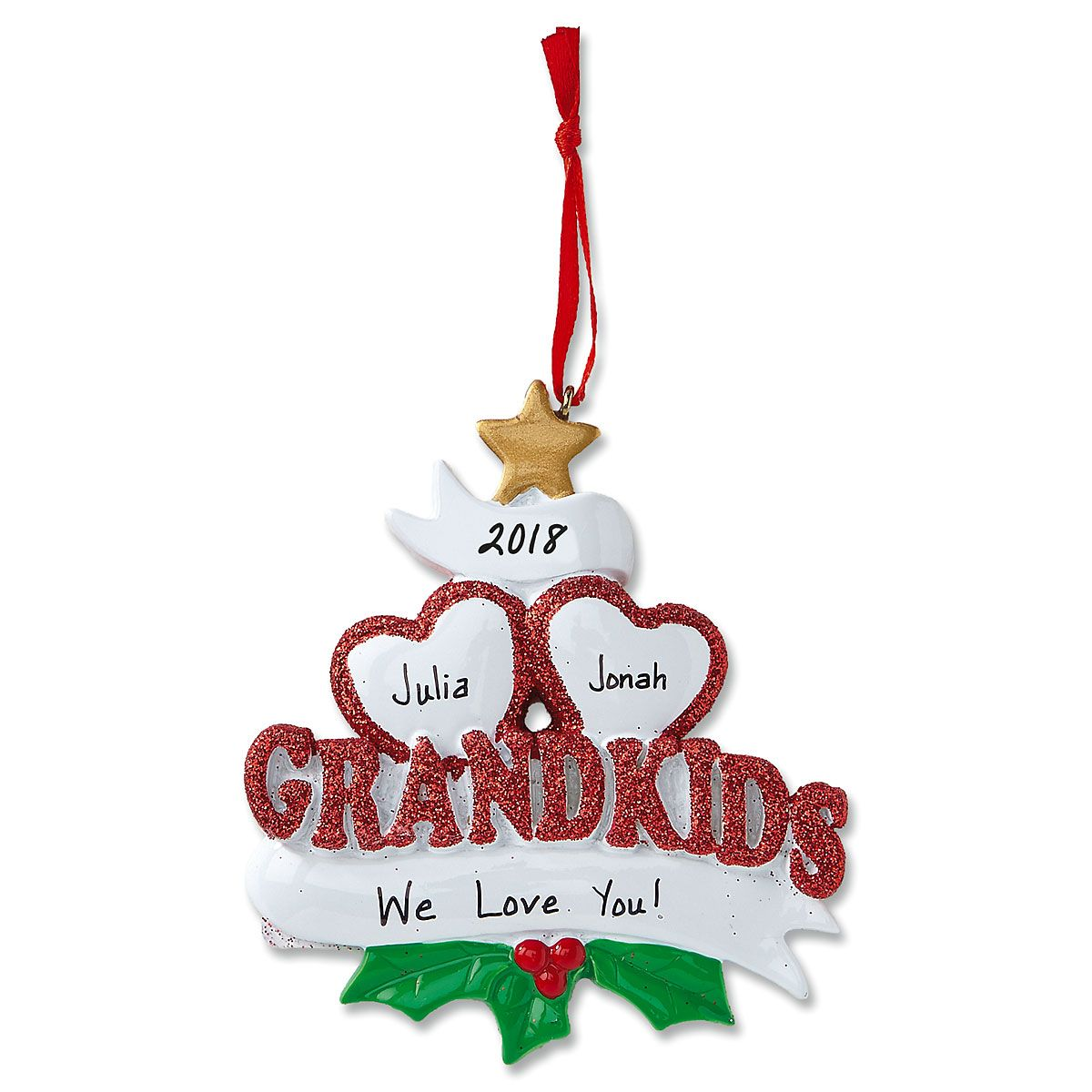Grandkids with Hearts Christmas Personalized Ornaments