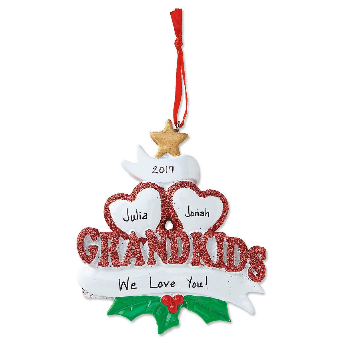 Grandkids with Hearts Personalized Christmas Ornament
