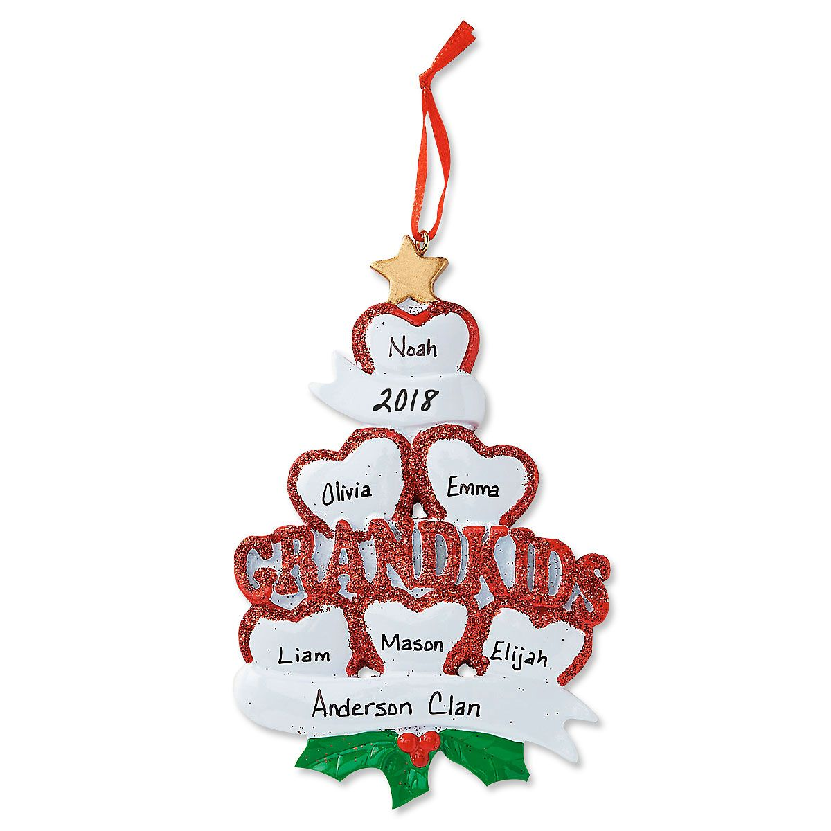 Grandkids with Hearts Ornament-6 Names-616414E