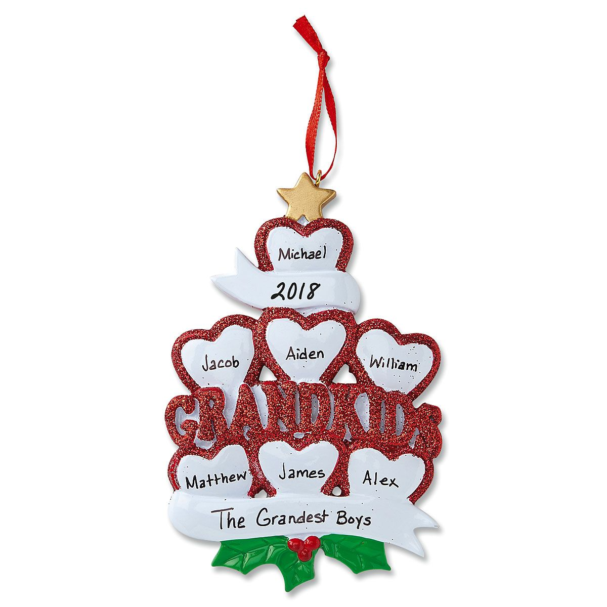 Grandkids with Hearts Ornament-7 Names-616414F