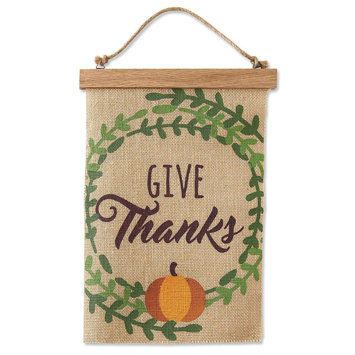 Give Thanks Burlap Banner