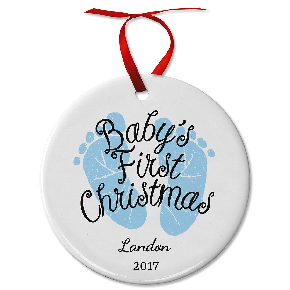 Baby Boy's First Personalized Christmas Ceramic Ornaments