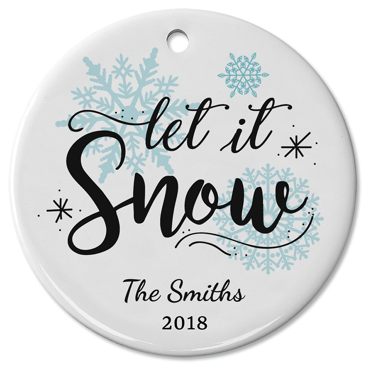 Personalized Let It Snow Ceramic Ornament