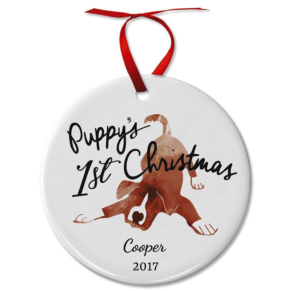 Puppy's First Christmas Ceramic Personalized Christmas Ornaments