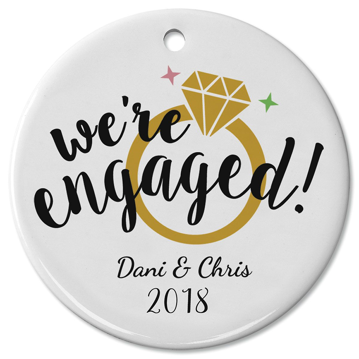 Personalized Engaged Ceramic Ornament