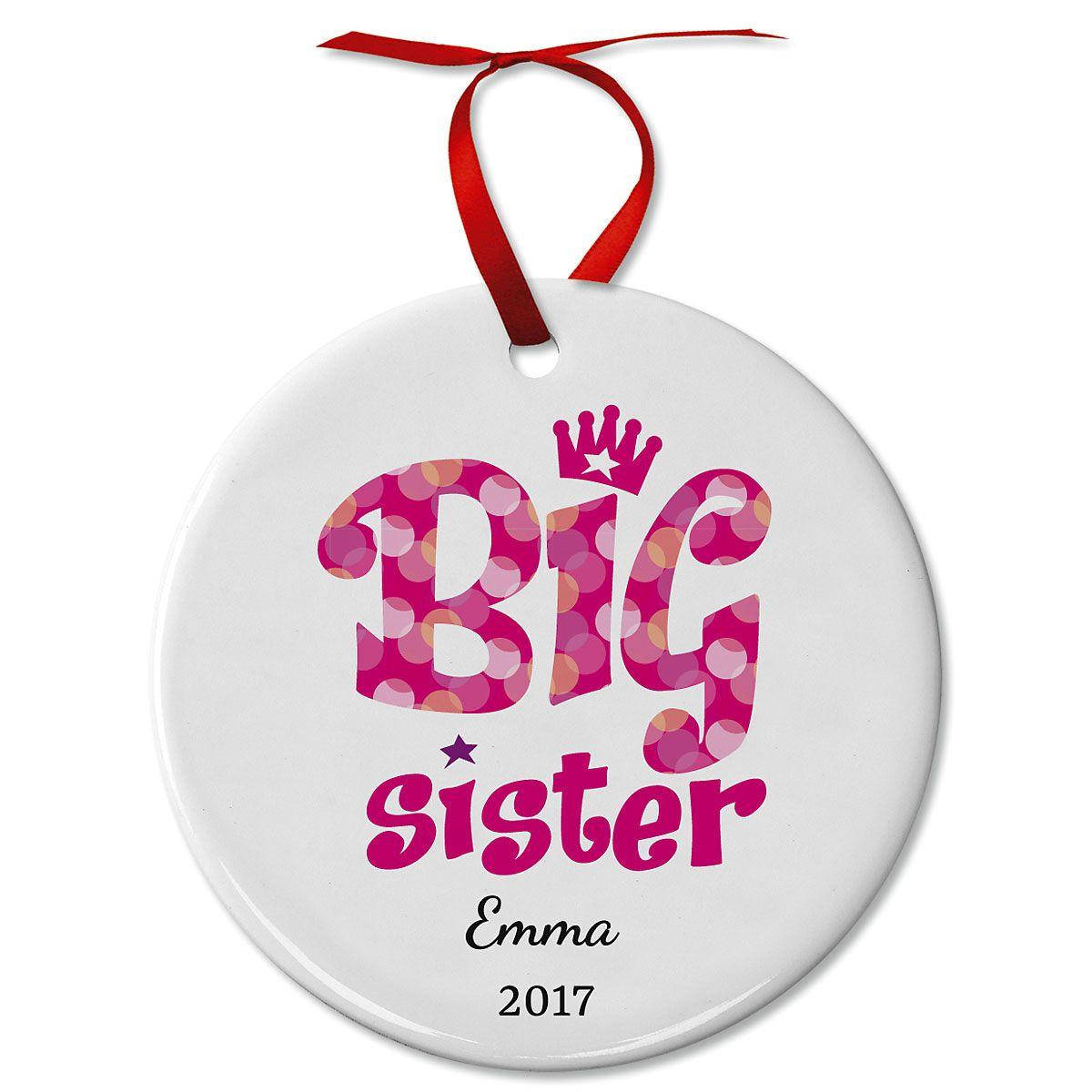 Personalized Big Sister Ceramic Christmas Ornament