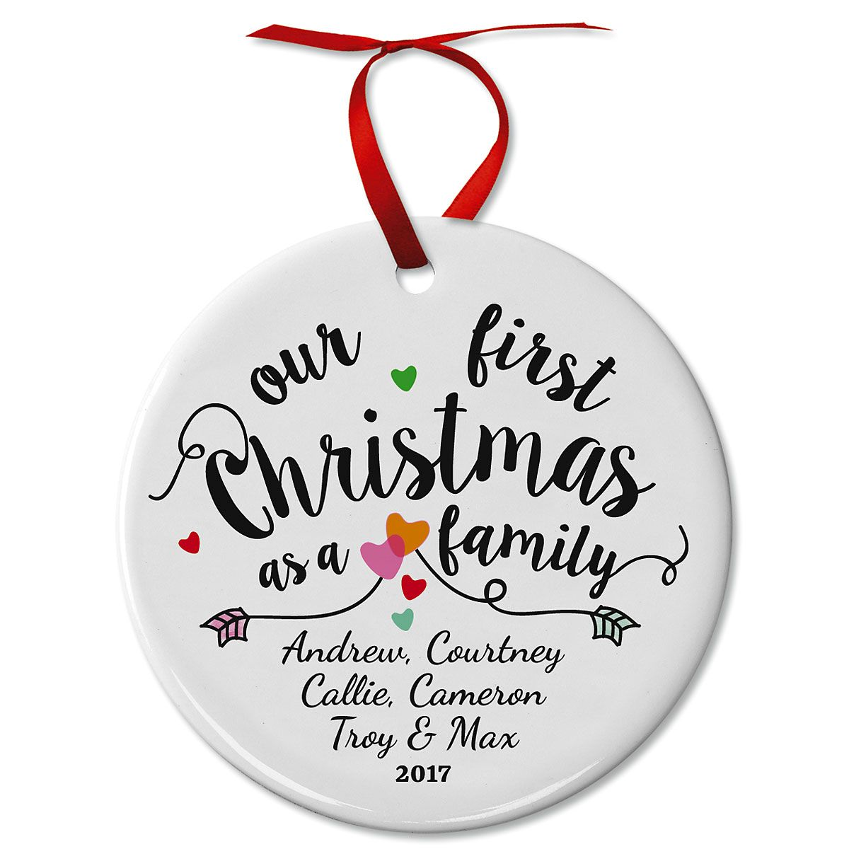 First Christmas as a Family Ceramic Personalized Christmas Ornament