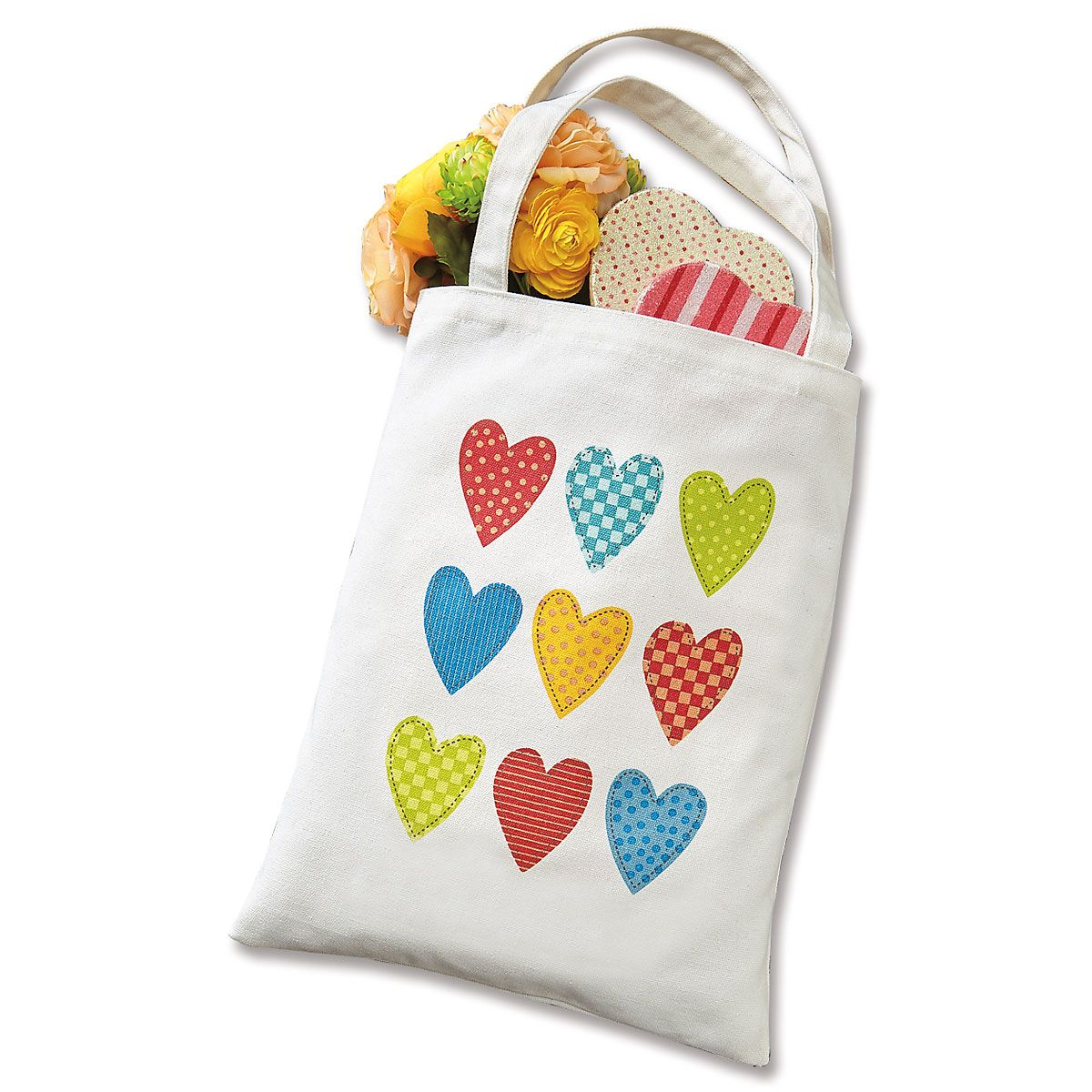 Canvas Hearts Tote Bag