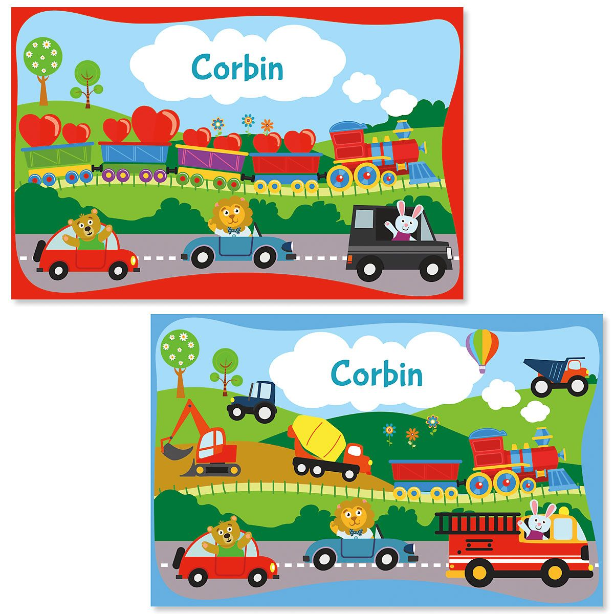 Train Personalized Place Mat for Kids