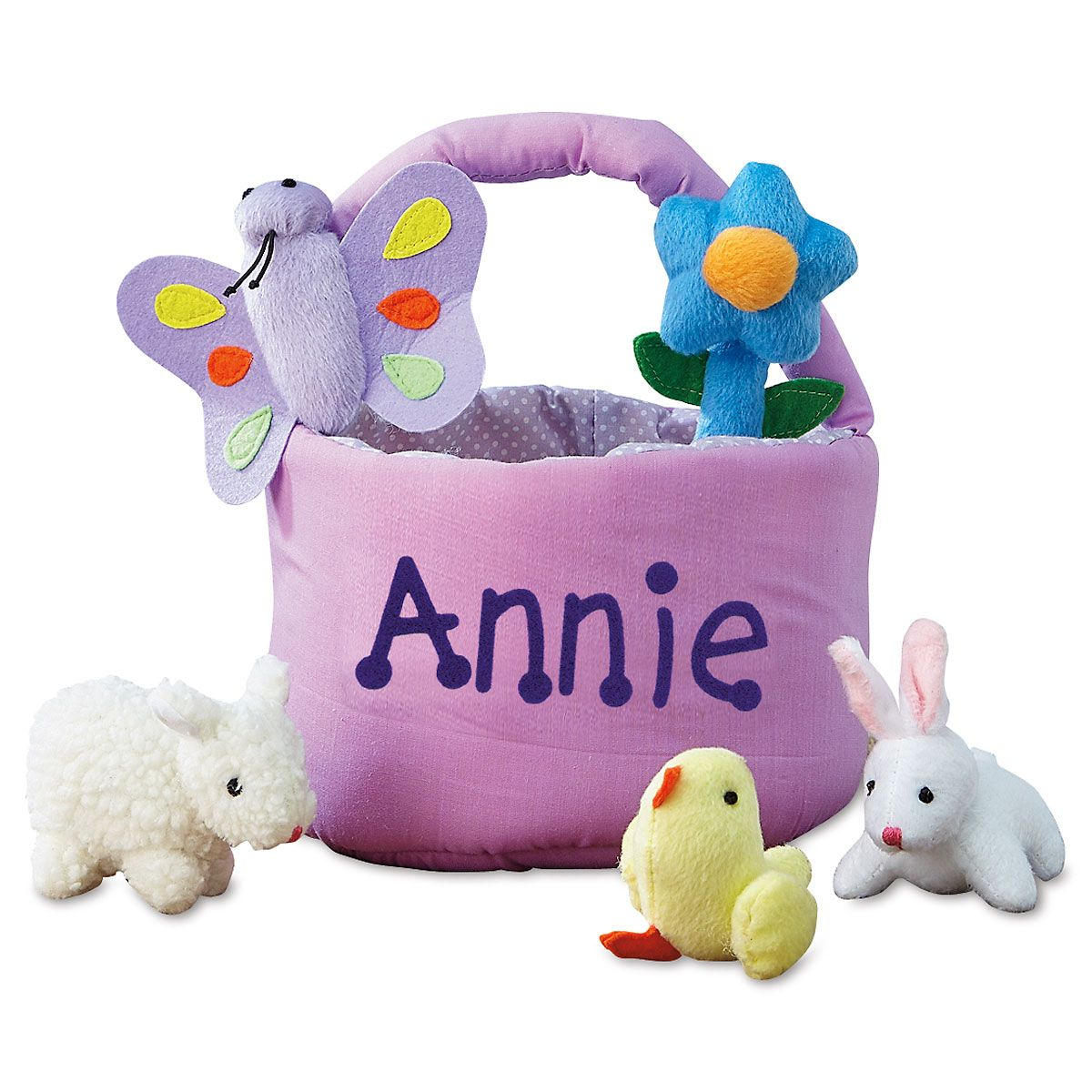 Kids easter gifts gift ideas lillian vernon personalized easter basket with 5 plush toys negle Images