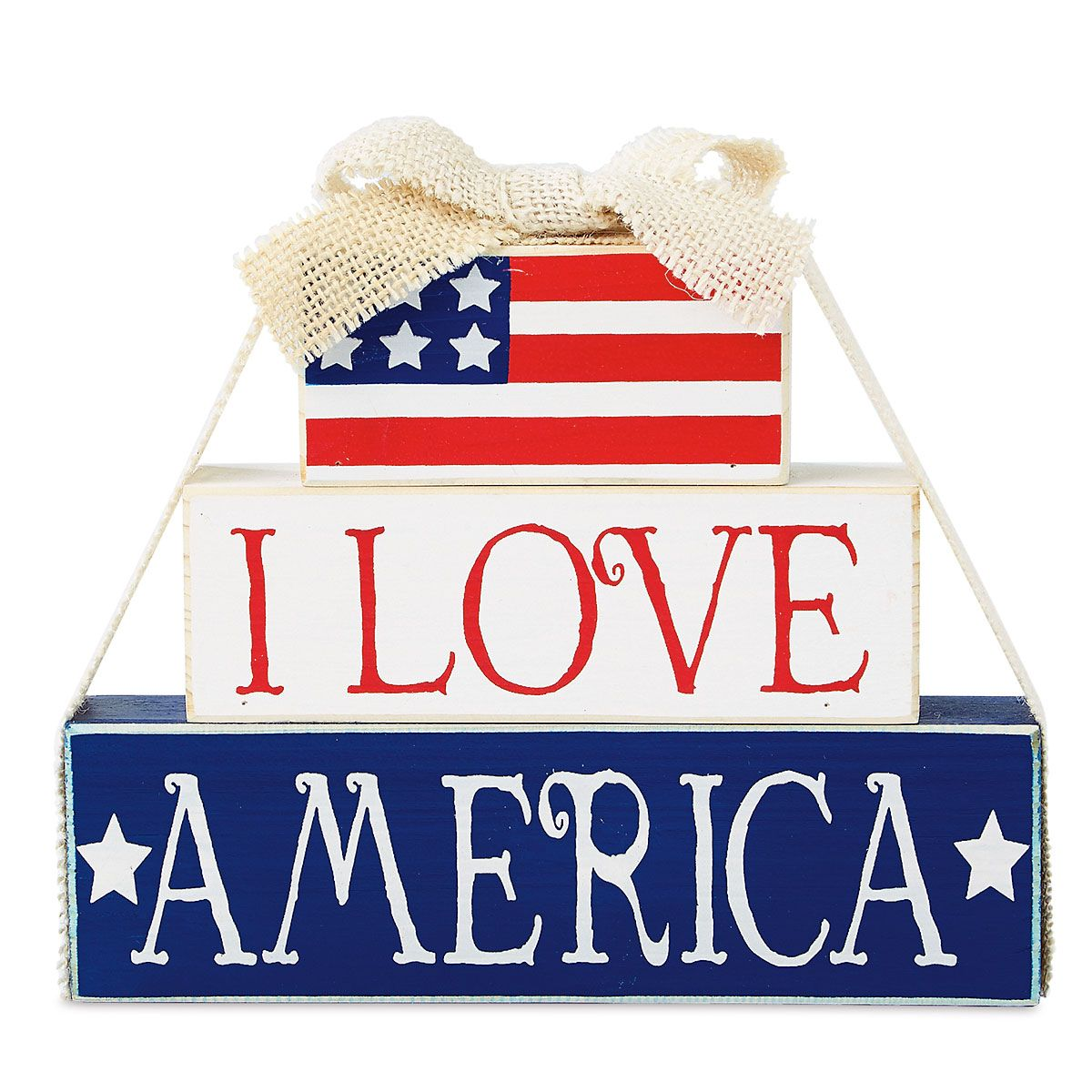 I Love America Wooden Decoration