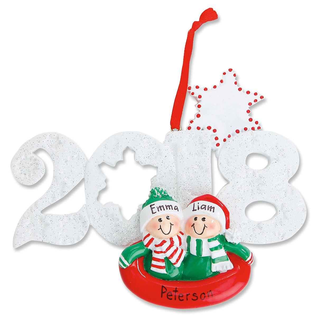 2018 Sledding Personalized Christmas Ornament