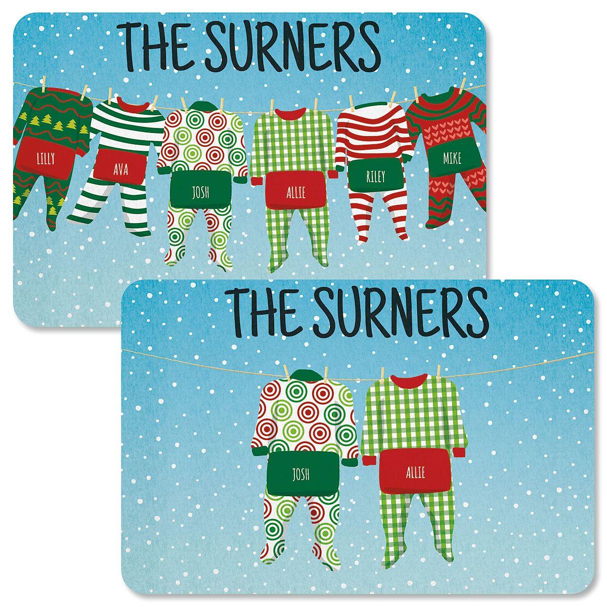 Pajama Family Personalized Christmas Doormats
