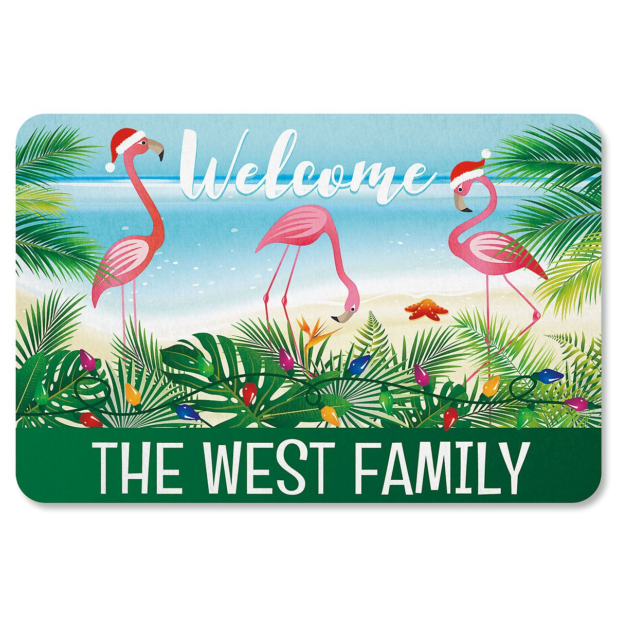 Holiday Flamingo Personalized Christmas Doormat
