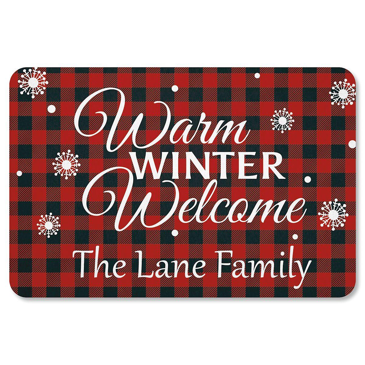 Buffalo Plaid Personalized Christmas Doormat Lillian Vernon