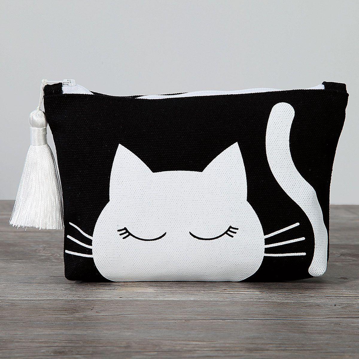 Cat Canvas Cosmetic Bag