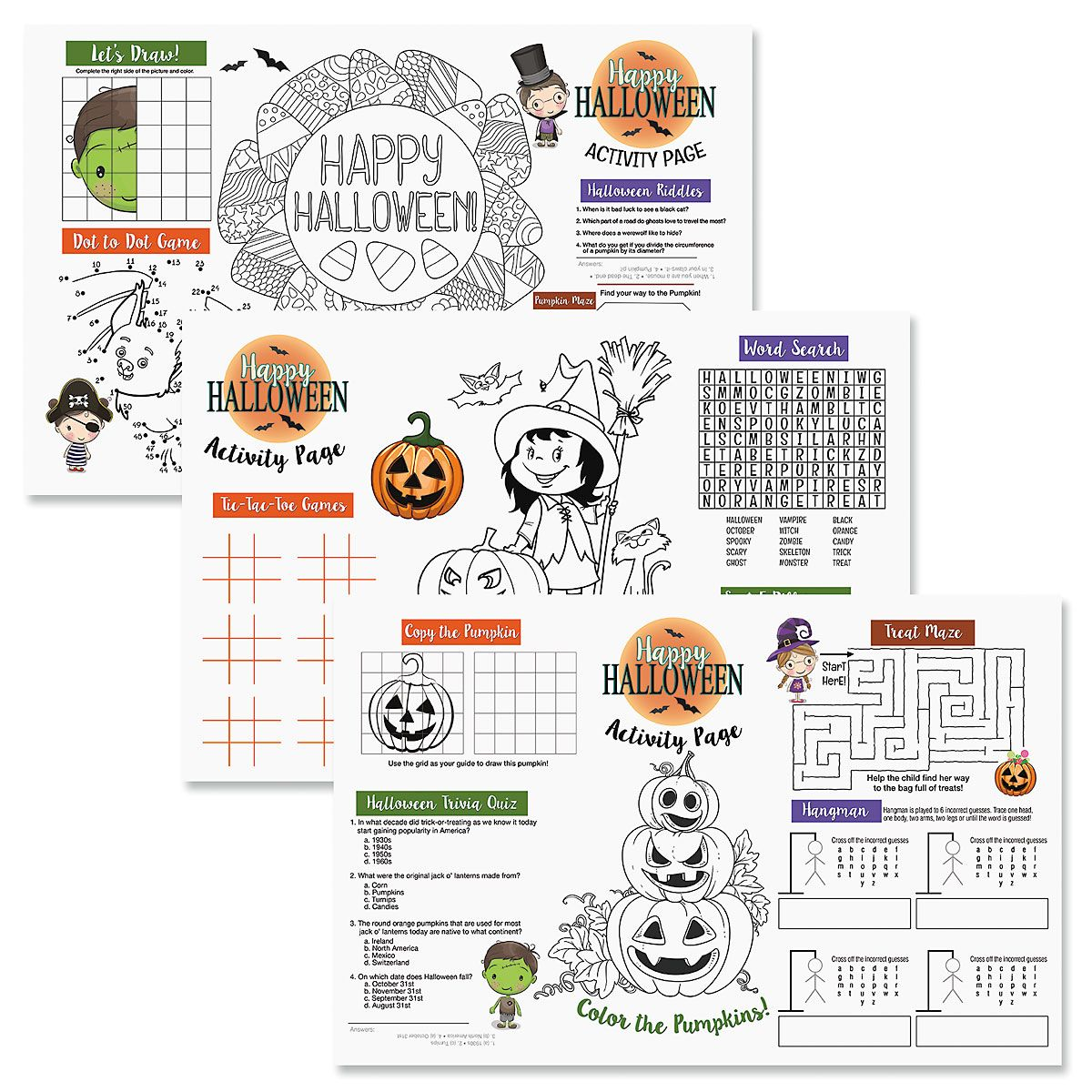 Halloween Activity Placemats