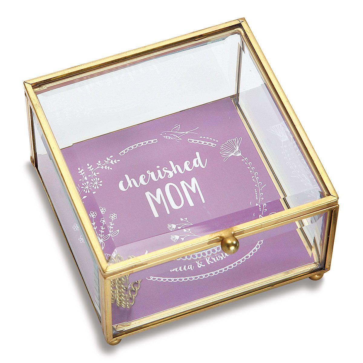 Personalized Mom Glass Trinket Box