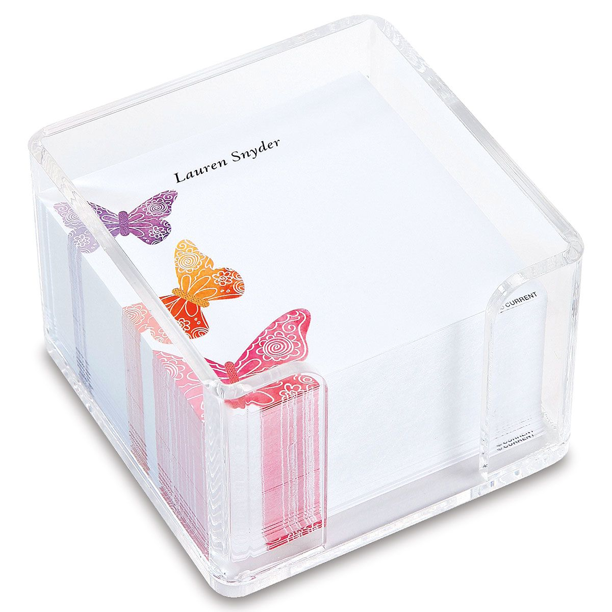 Personalized Butterfly Days Note Sheets in a Cube