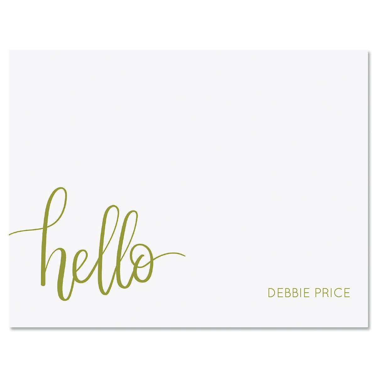 Handwritten Hello Folded Note Card