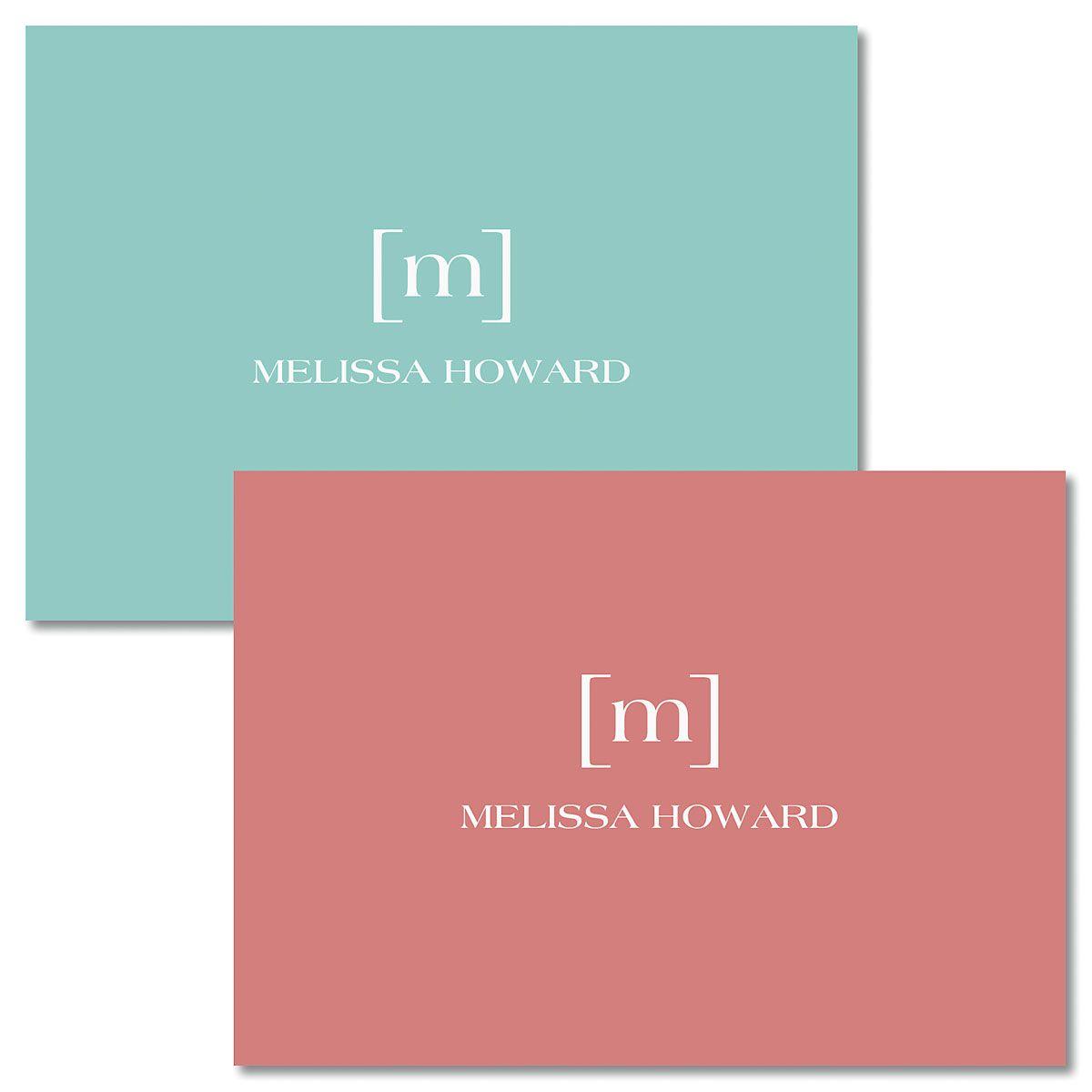 Bracket Monogram Folded Note Cards