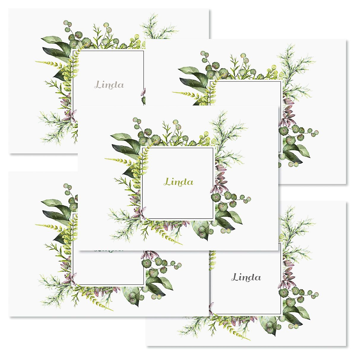 Botanical Watercolor Wreath Folded Note Cards