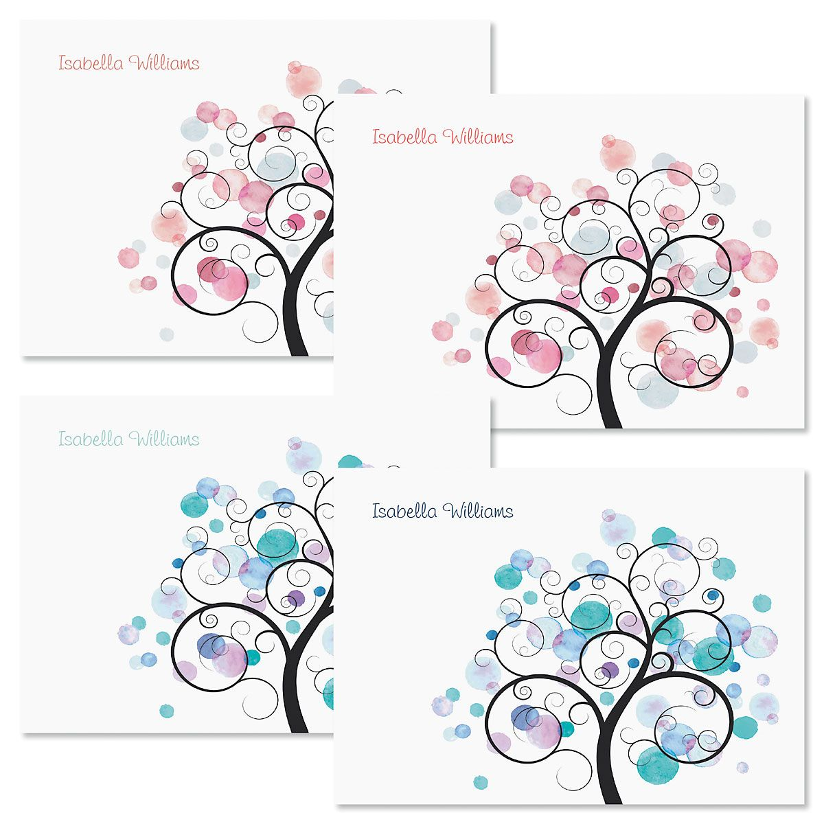 Watercolor Tree Folded Note Cards