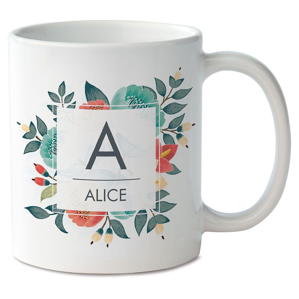 Floral Initial & Name Mug