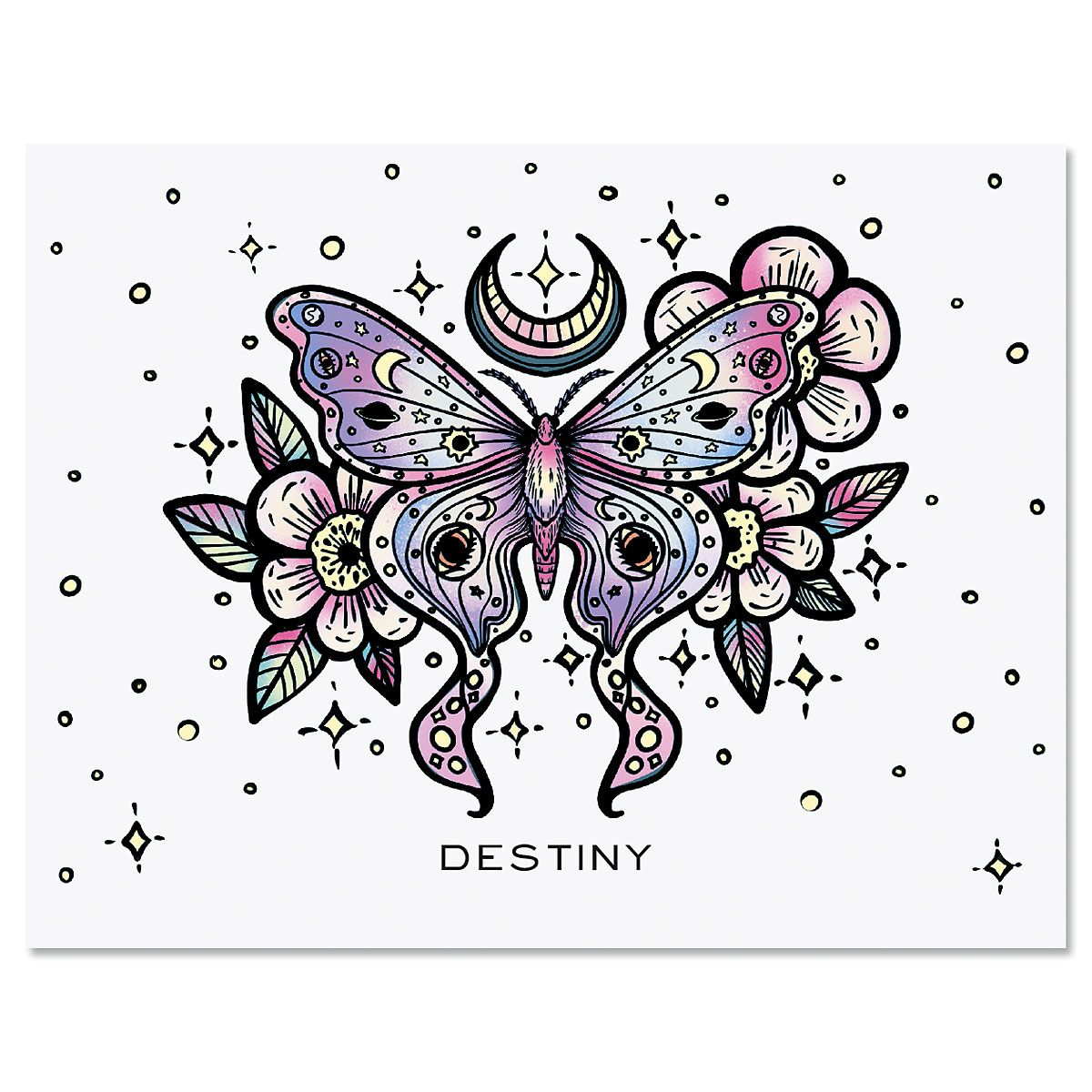 Floral Butterfly Folded Note Cards