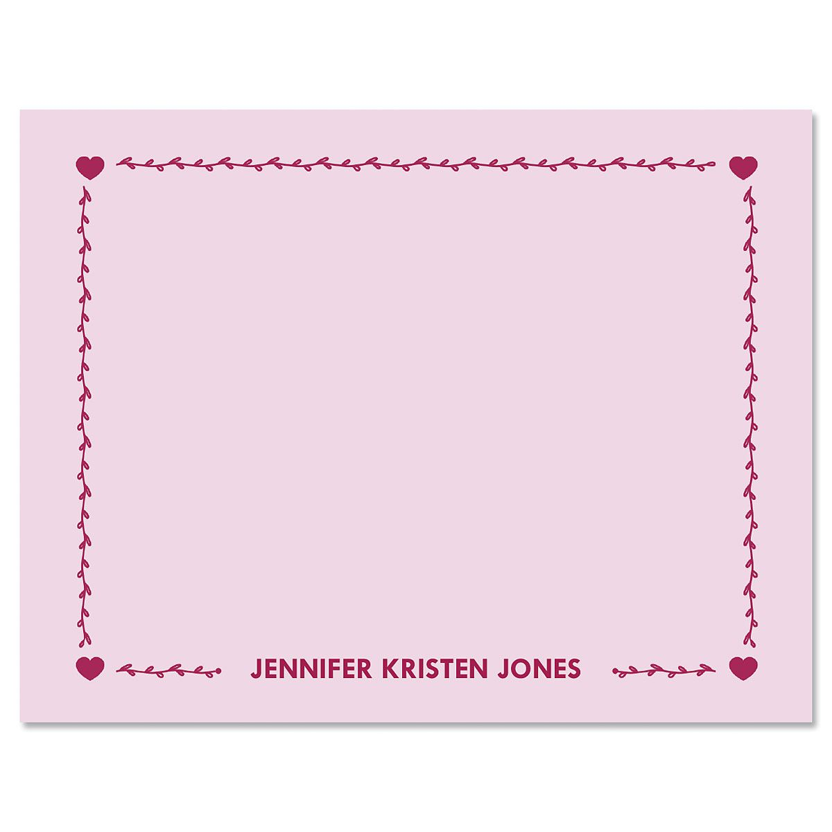 Heart Border Folded Note Cards