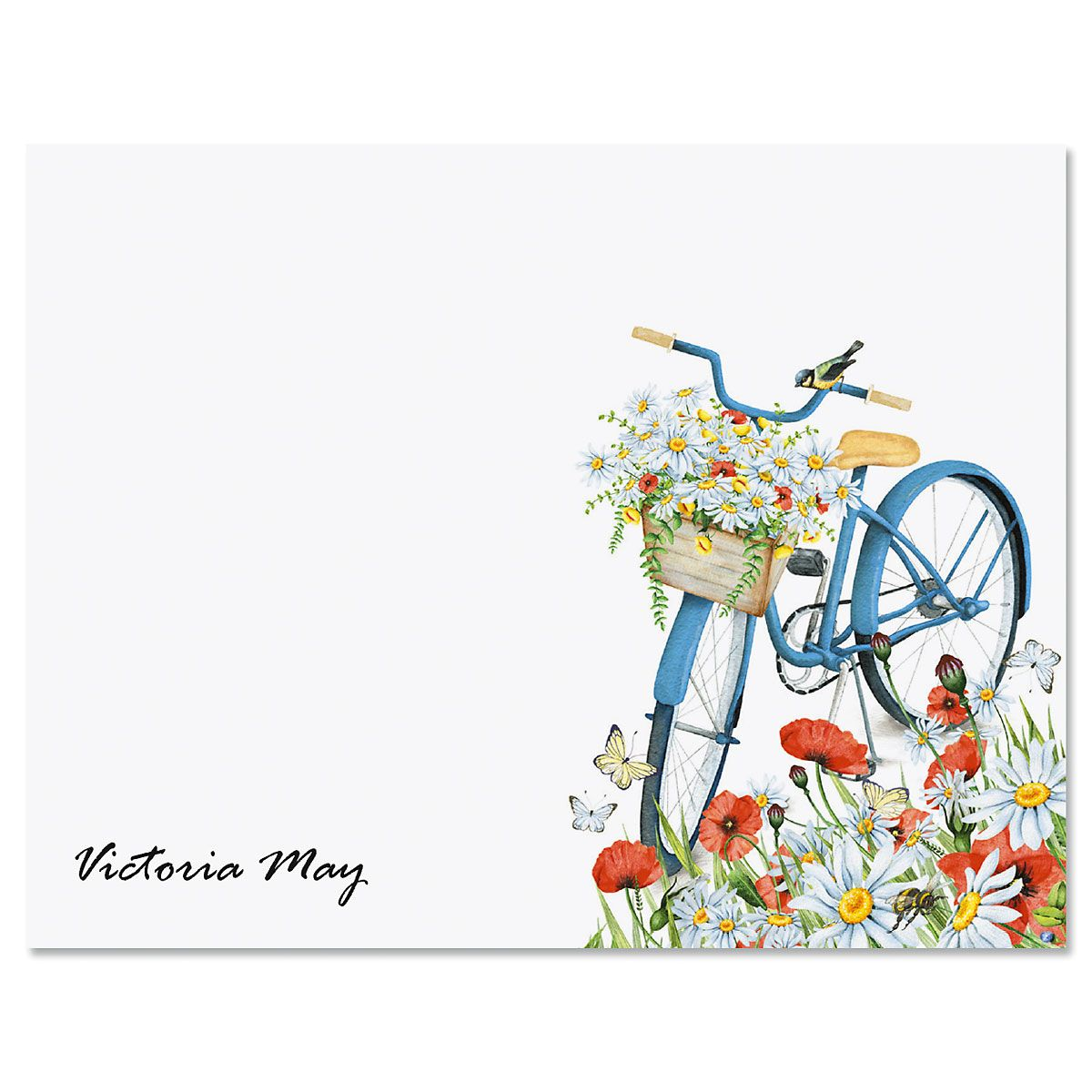 Floral Bike Folded Note Cards