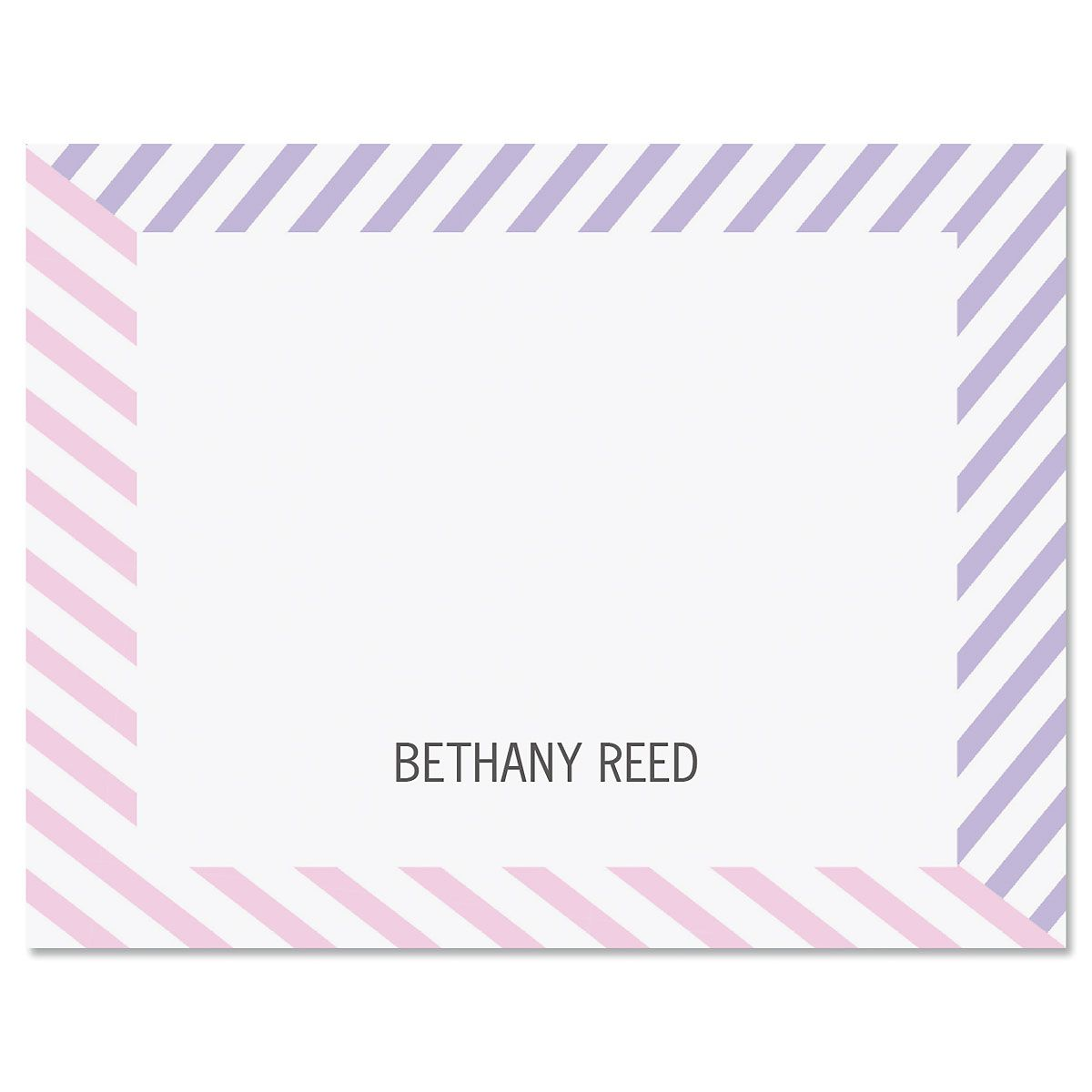 Pastel Lines Folded Note Cards