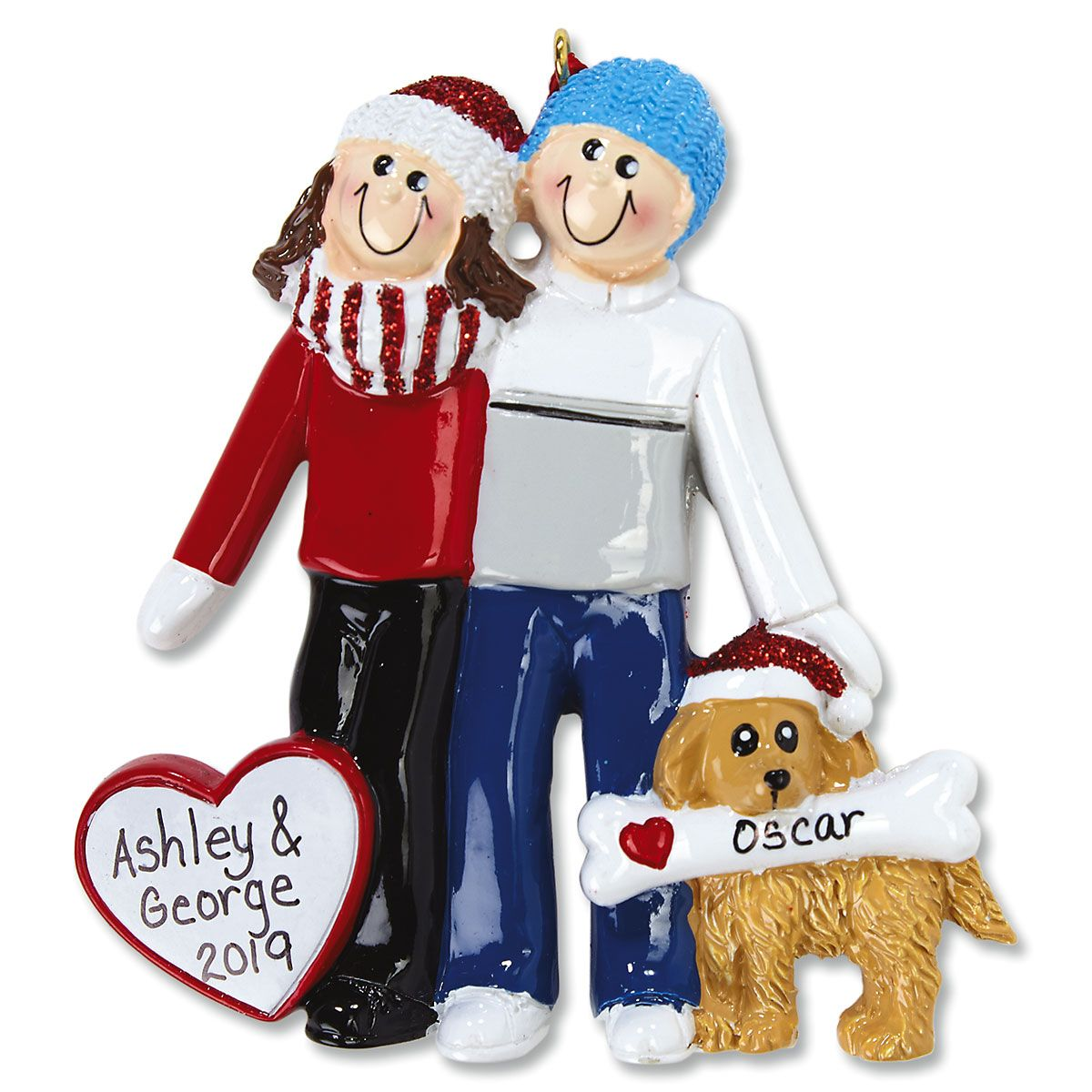 Couple with Dog Christmas Ornament