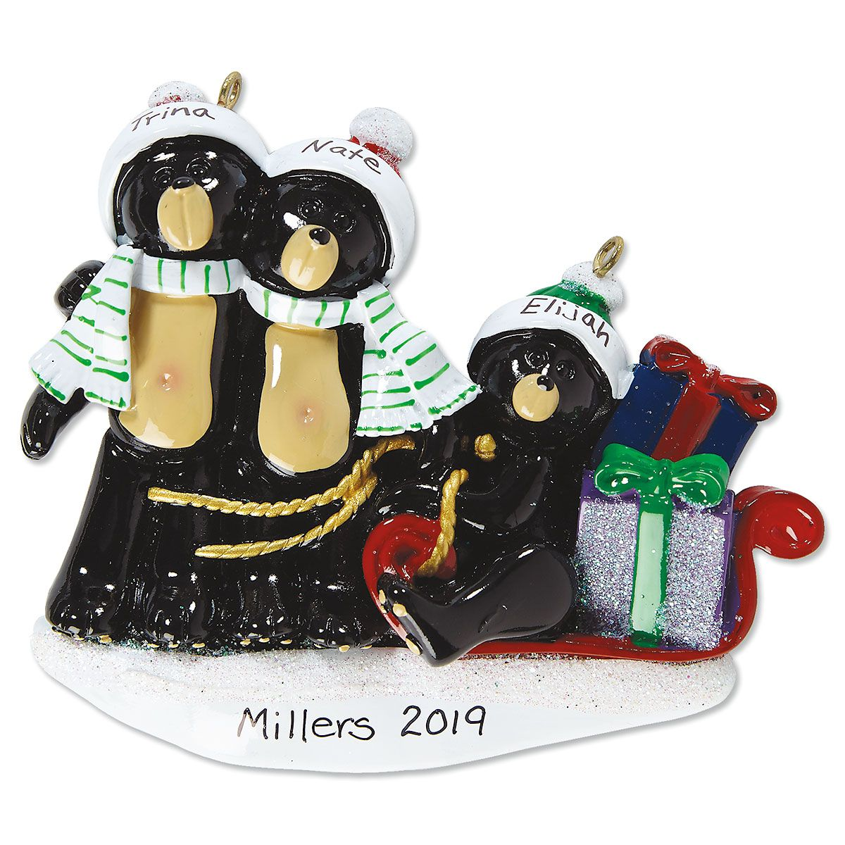 Personalized Sledding Bear Family Ornament
