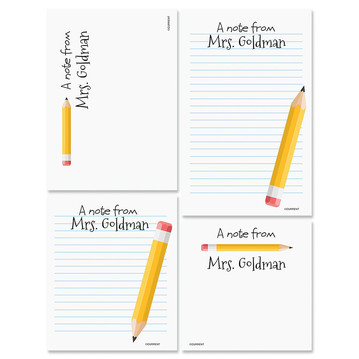 Personalized Yellow Pencil Notepads