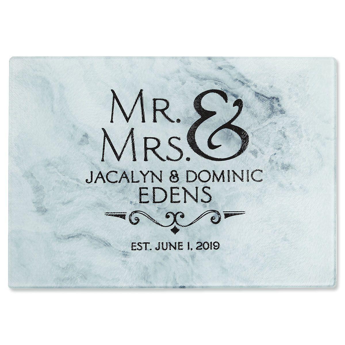 Mr. & Mrs.  Personalized Glass Cutting Board