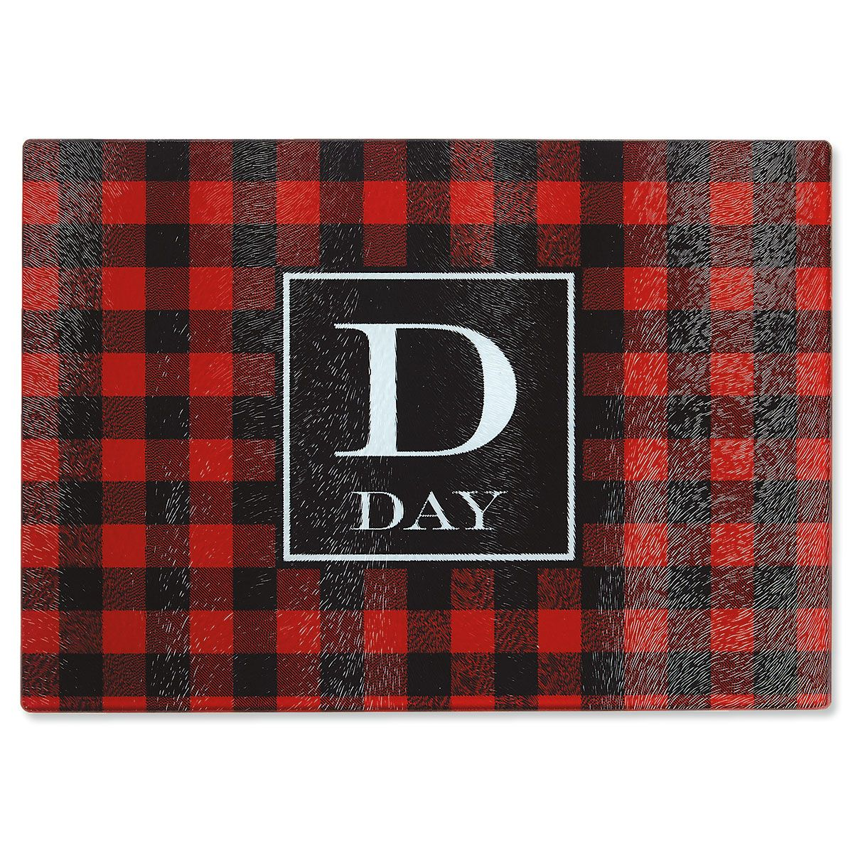 Holiday Plaid Tempered Glass Cutting Board