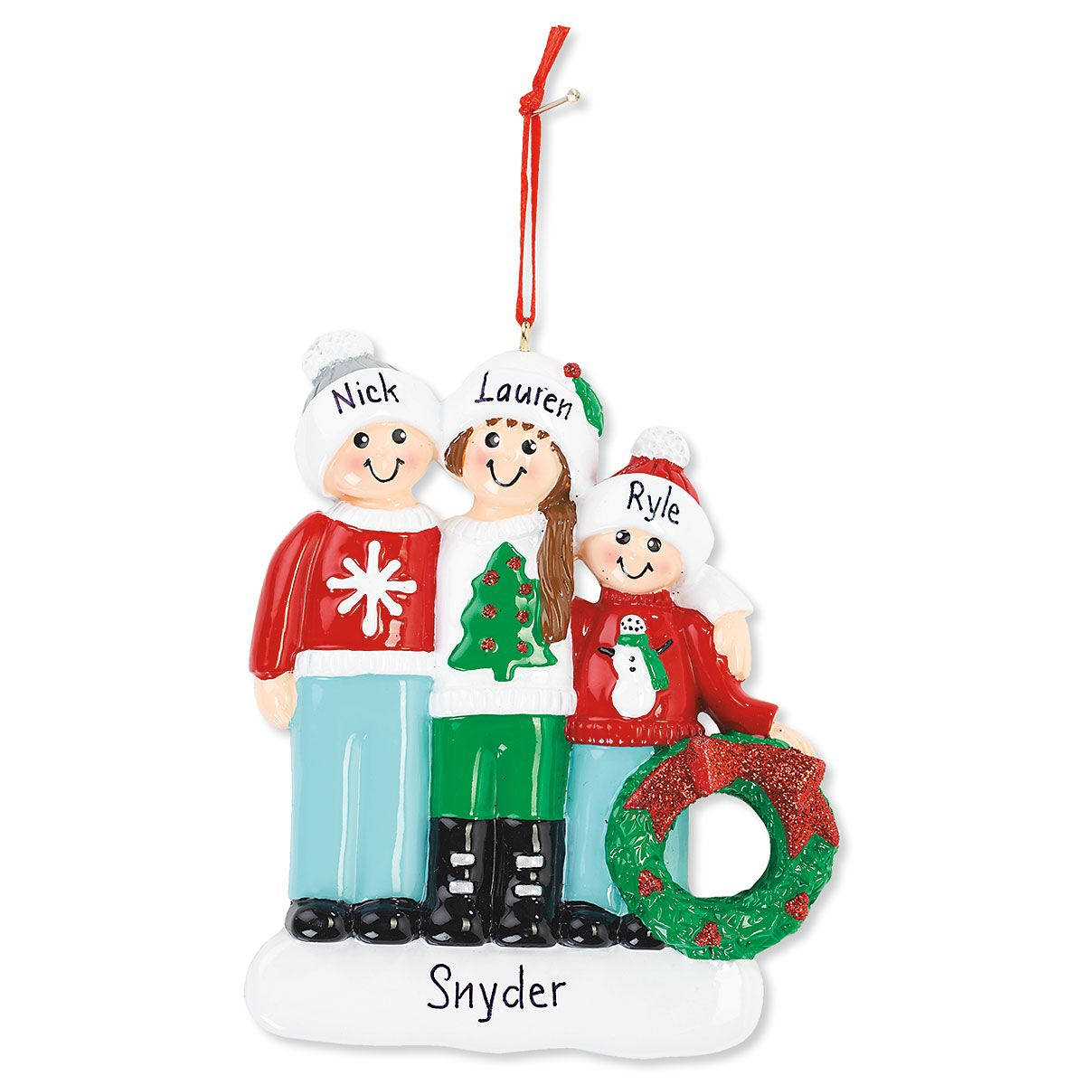 Christmas Ornament Family with Wreath Hand-Lettered