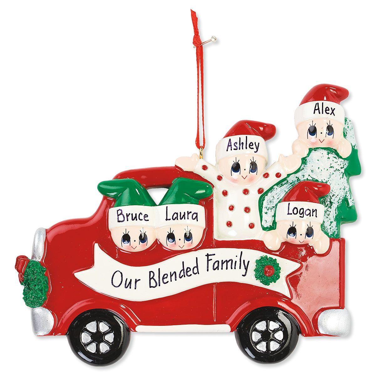5 Names Red Truck With Christmas Tree Ornament Lillian Vernon