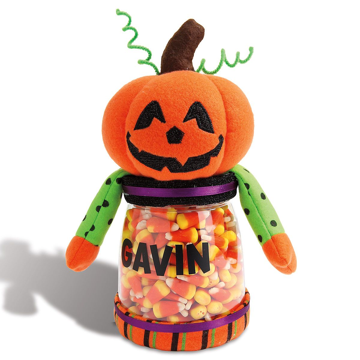 Personalized Halloween Jack-o-Lantern Treat Jar