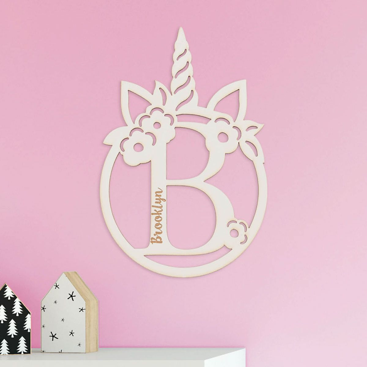 Personalized Initial Unicorn Wooden Plaque