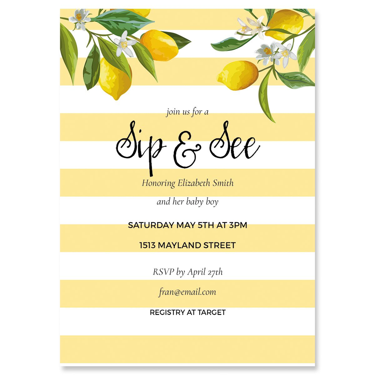 Life and Lemons Personalized Shower Invitation