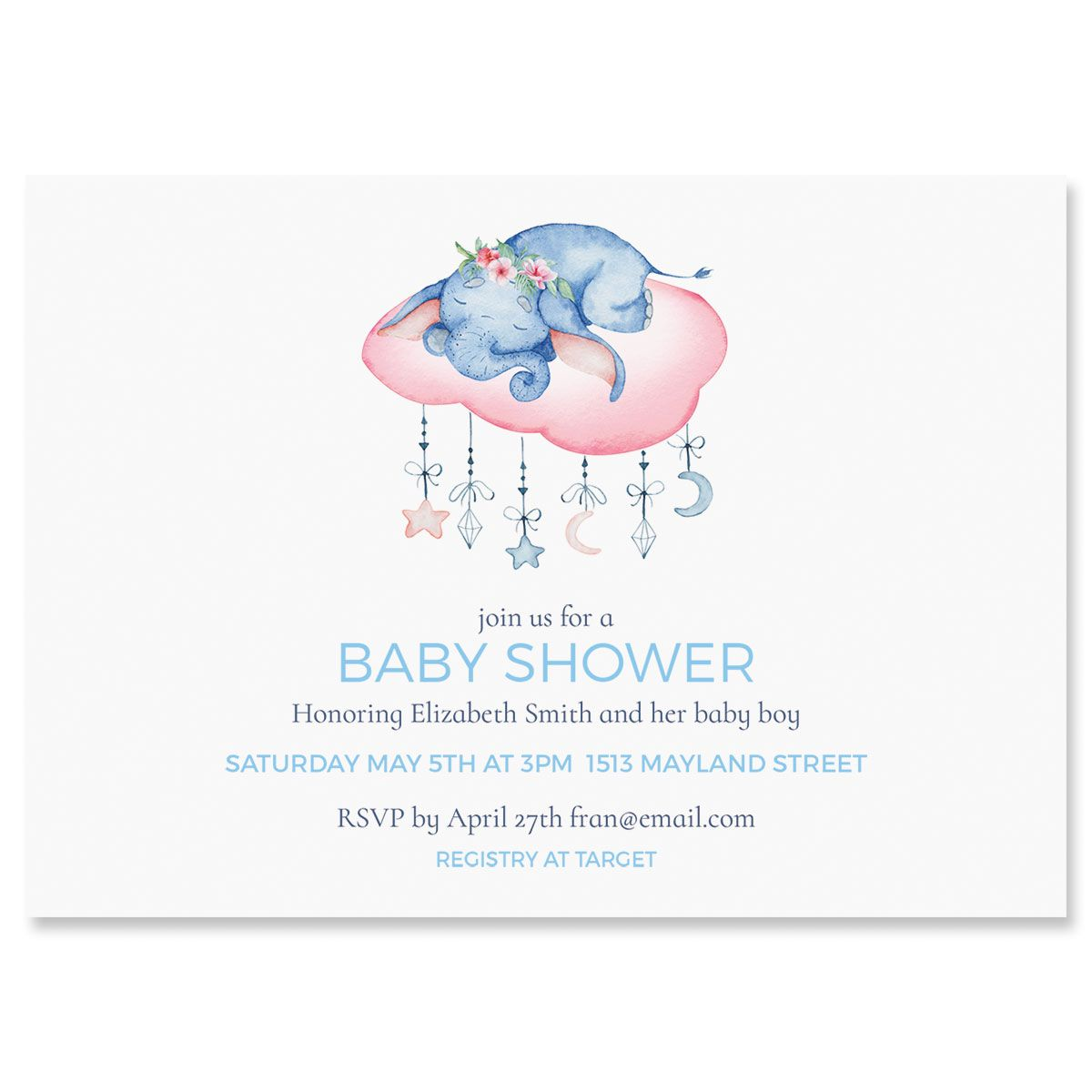 Sleepy Elephant Personalized Shower Invitations