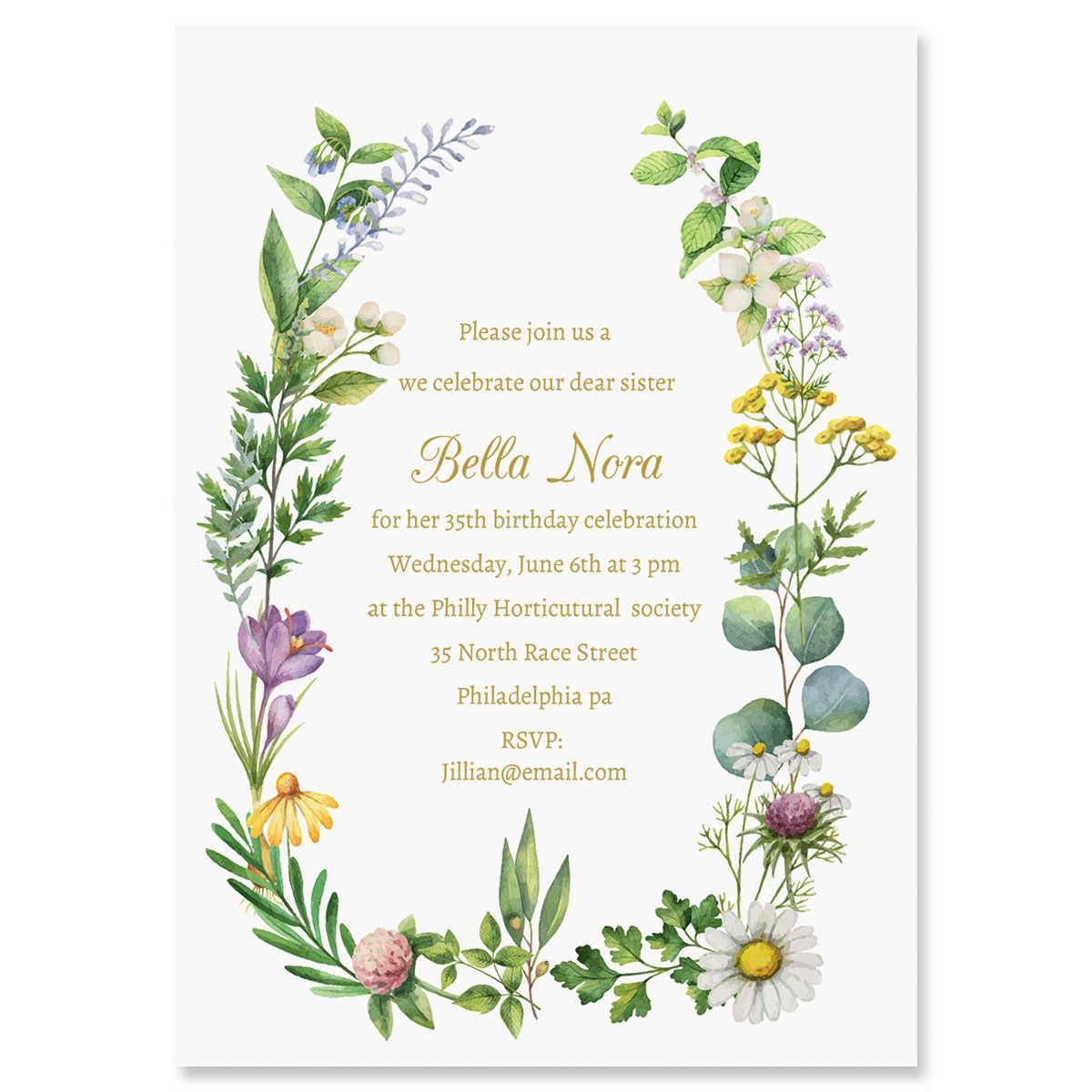 Larual Botanical Personalized Invitations