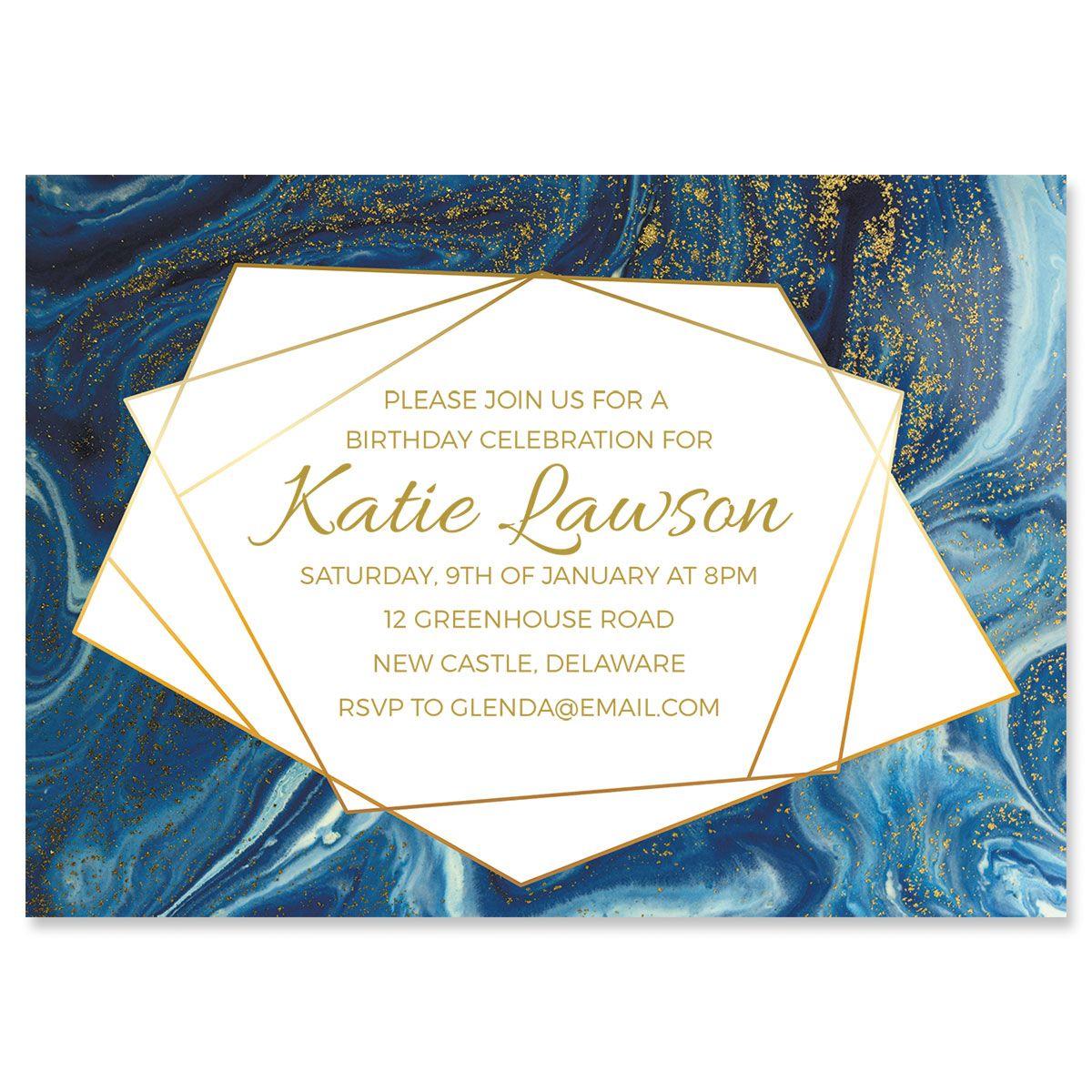 Modern Marble Indulgence Personalized Invitation