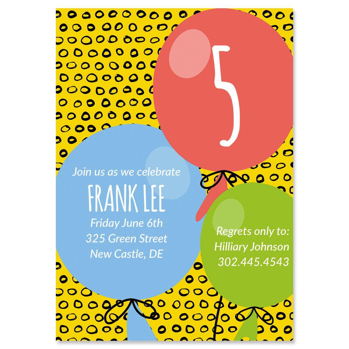 Balloon Birthday Personalized Invitations