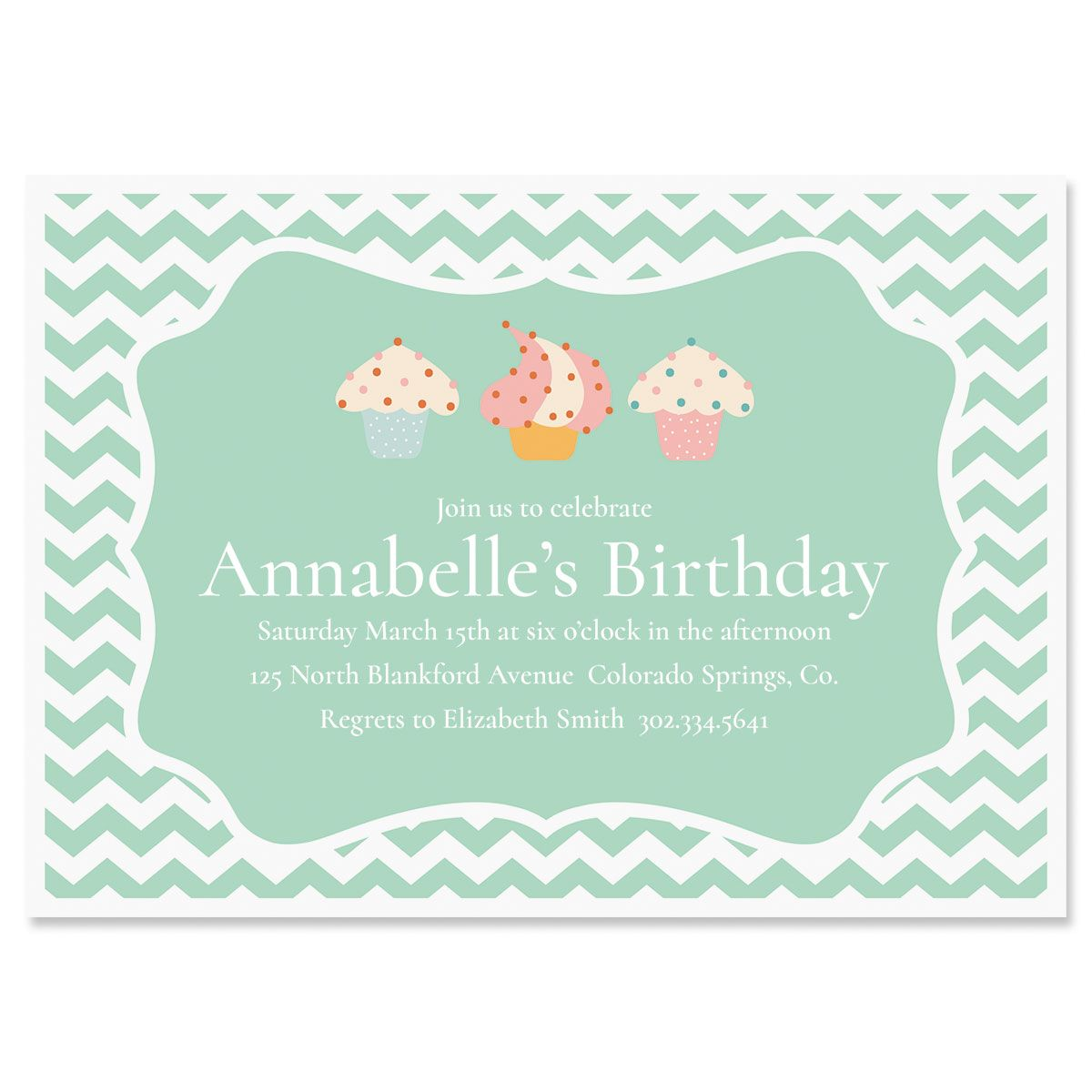 Cheveron Cupcake Personalized Birthday Invitations