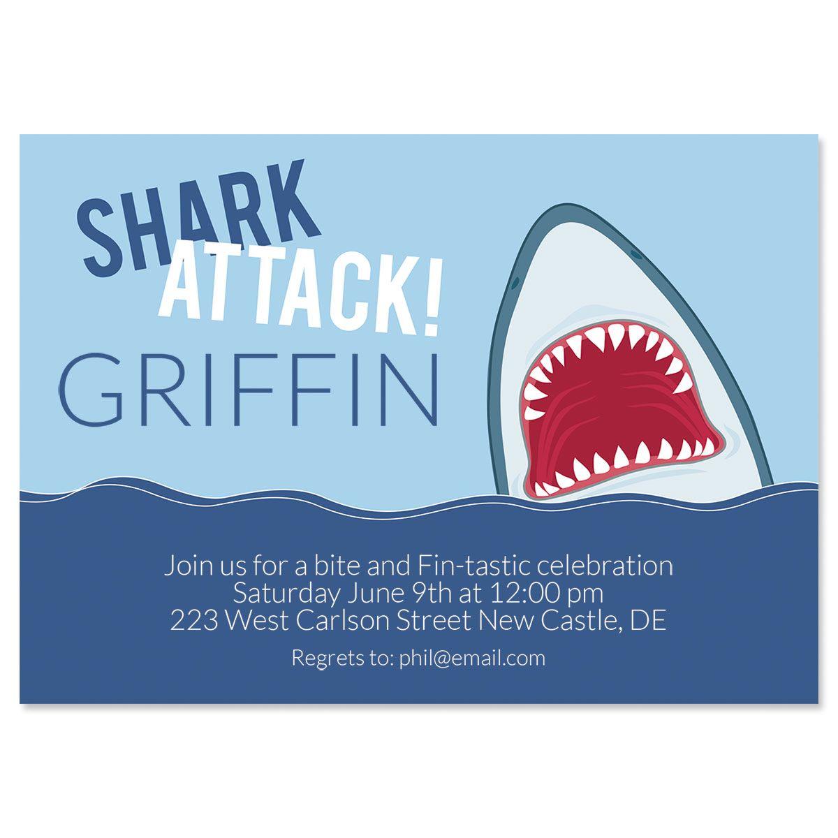 Shark Attack Birthday Personalized Invitations