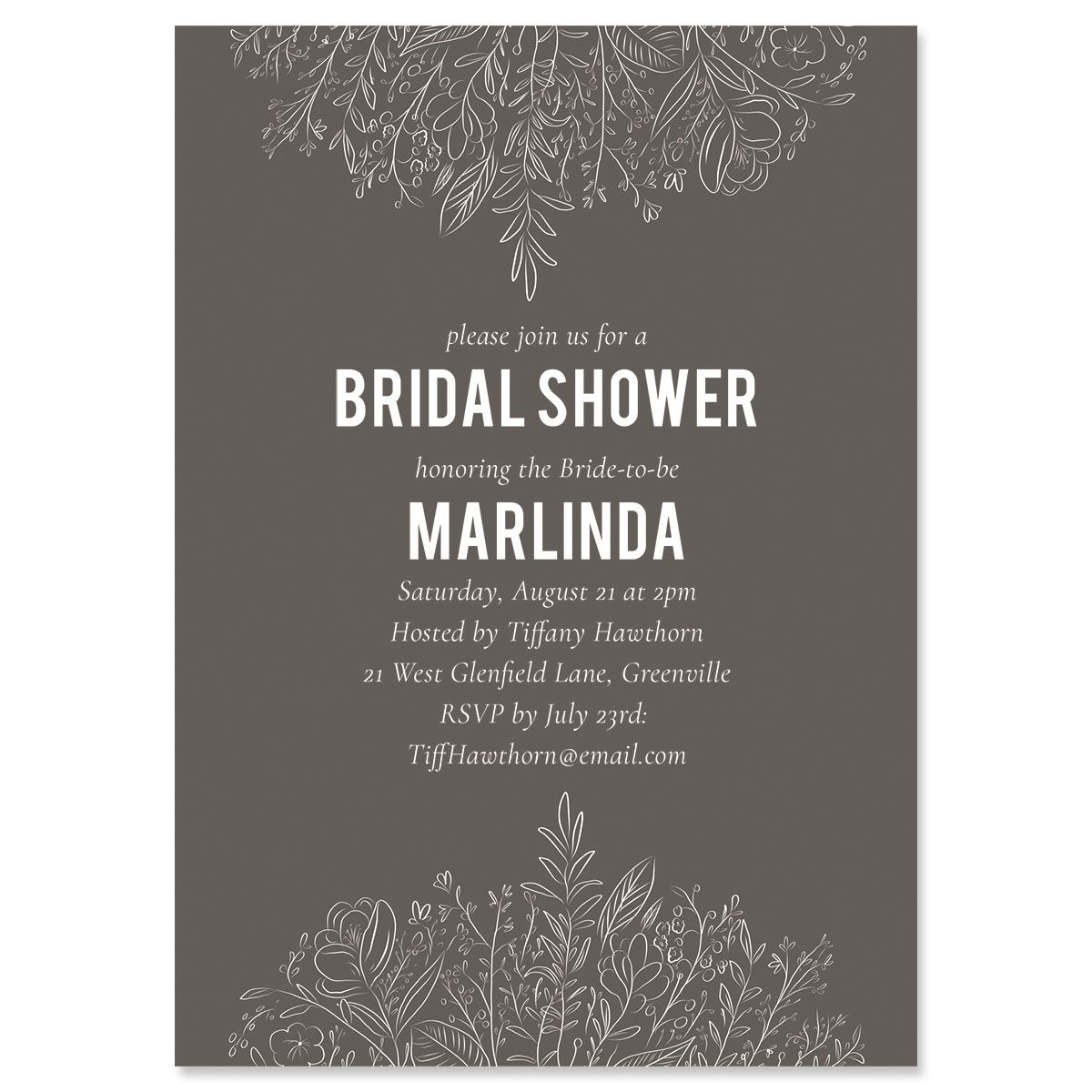 Charcoal Floral Personalized Invitations