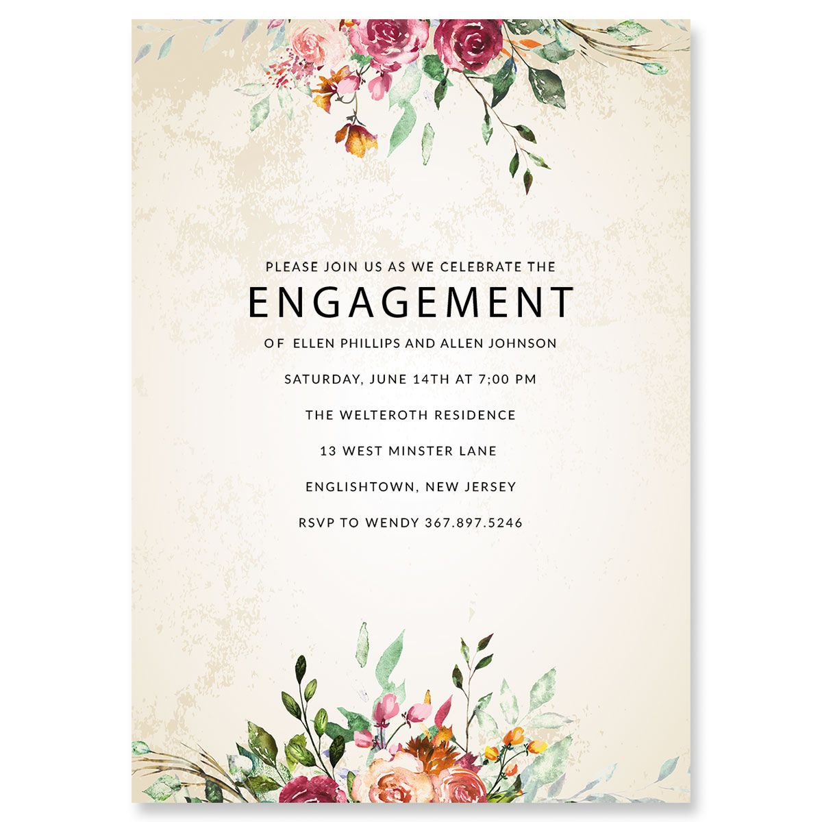 Fresco Floral Personalized Engagement Invitations